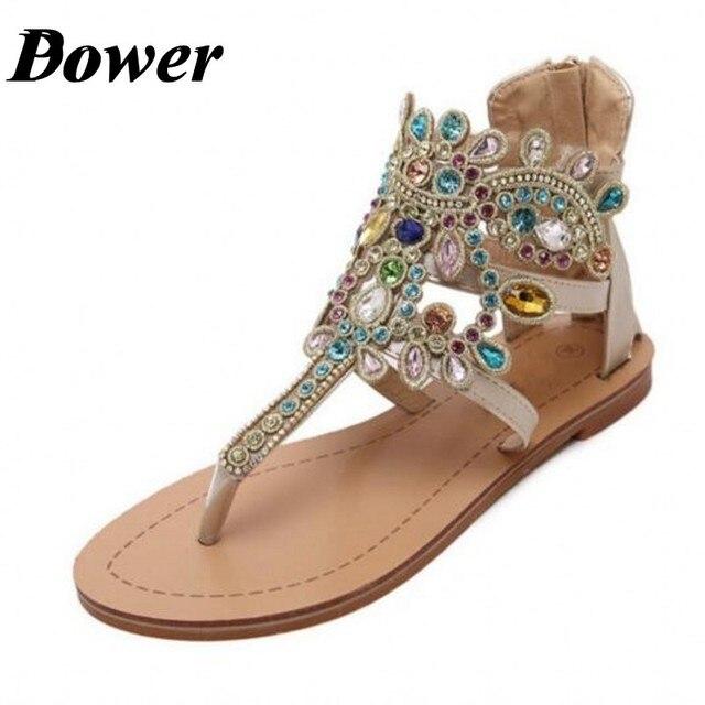 4aa4710c2 Black Gold Silver 2017 Women Luxury Handmade Bohemian Rhinestone Crystal  WeddingThong Sandals Gladiator Ankle Strap Flat Sandals