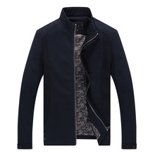 2019 Autumn fashion Business Man Jacket/Long sleeves Pure color Stand collar high quality coat Boutique Men's wear Jackets color block zig zag spliced stereo patch pocket slimming stand collar long sleeves jacket for men