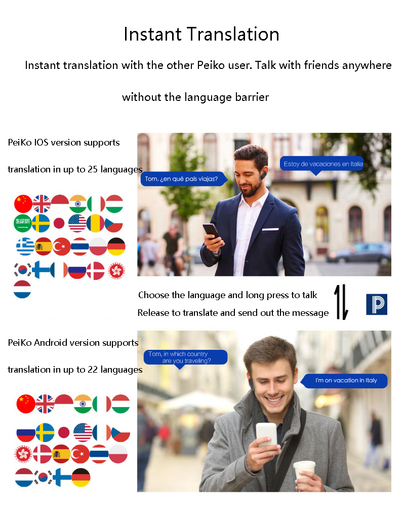 Peiko Smart Dual Mode Translate Earbuds Wireless Bluetooth Earphone 23 Languages Translation For travel and Business Headset