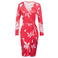 Kate Kasin Women Autumn Dresses Vestidos Vintage Long Sleeve Floral Print Ruffle Belt Cocktail Party Work