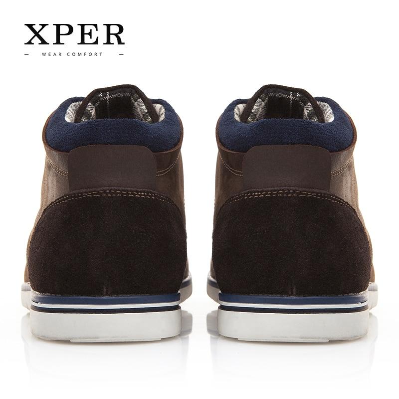 a4d7e4777 Xper брендовая мужская обувь из натуральной кожи осень-зима Мужские ботинки  100% кожа коровы Для мужчин повседневные ботинки Кружева внутри холст #  XAF86001 ...