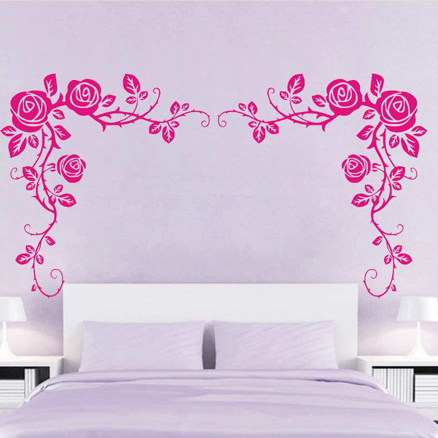Delicieux Sweet And Romantic Loveru0027s Bedroom Decorations Two Side Removable Vinyl  Wall Stickers Rose Vines Posters Wallpaper