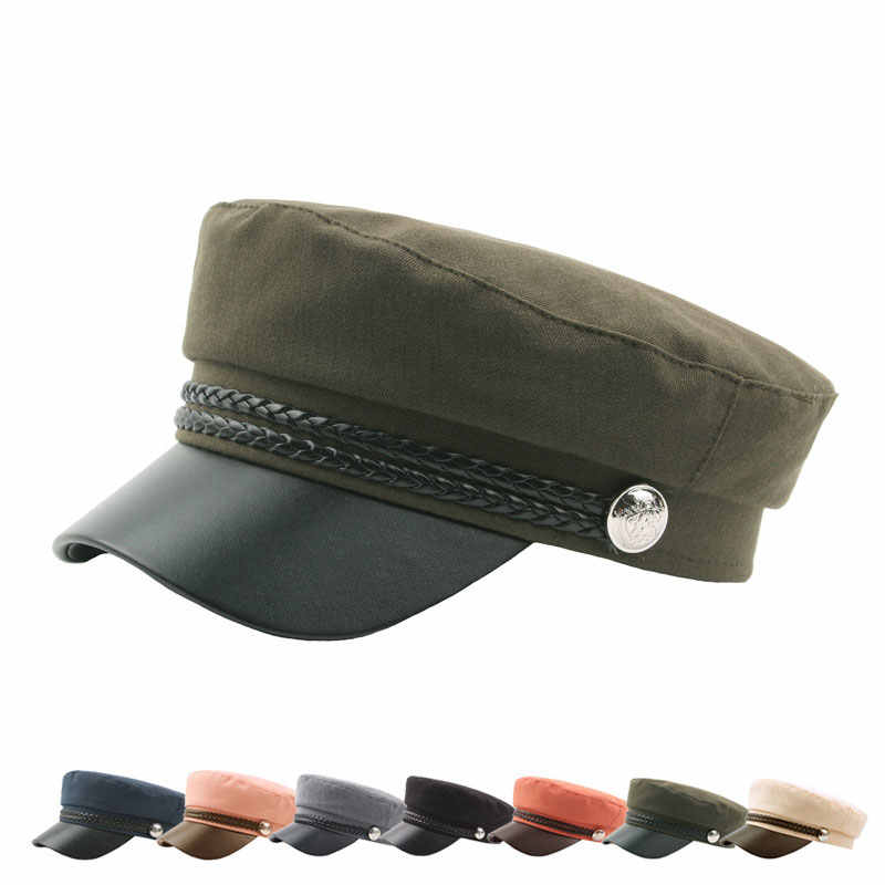 bdd235a0 Military Hat Old Fashion Stage Performance Party Cosplay Sailor Captain Cap  Navy Cap PU Leather Army