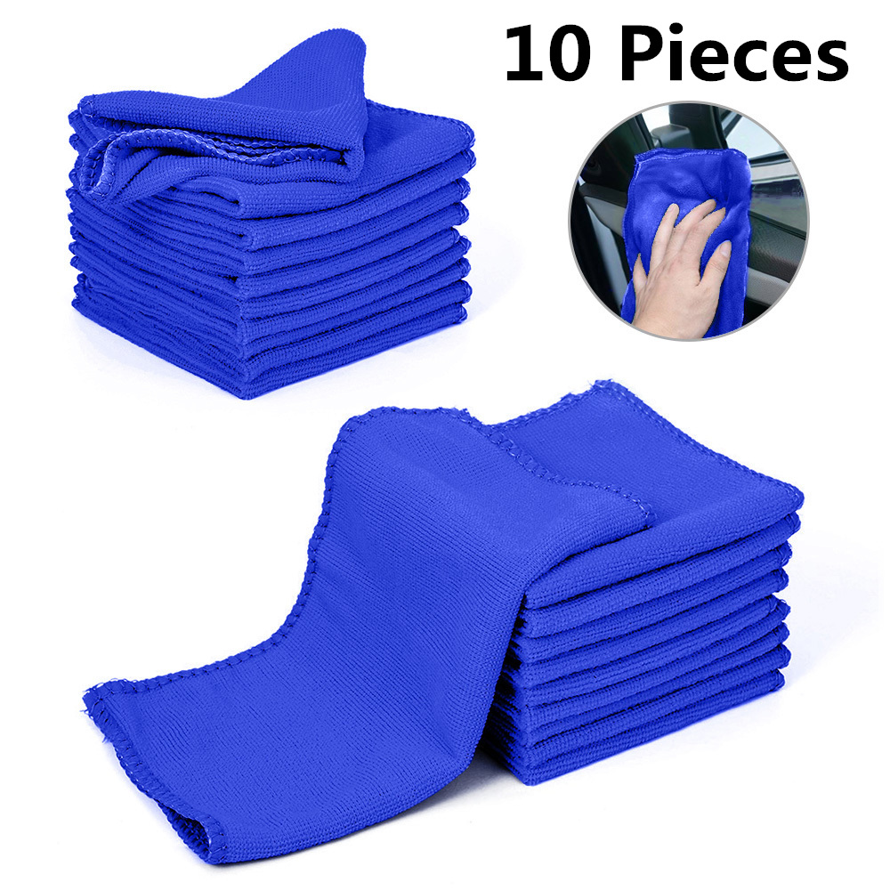 10pc Motorcycles Car Wash Towel Soft Cleaning Car Care Detailing Cloths Wash Towel Duster 9.84'' X 9.84''Inch Towel Automobiles