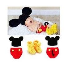 Ручной работы крючком новорожденный фотографии реквизит детские фотографии одежды девочка вязаный шерстяной шляпа обувь(China (Mainland))