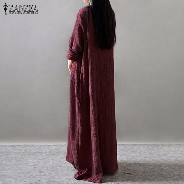 Women Elegant Dress 2017 ZANZEA Autumn V Neck Long Sleeve Floor-length Casual Loose Solid Maxi Long Dress Vestidos Plus Size