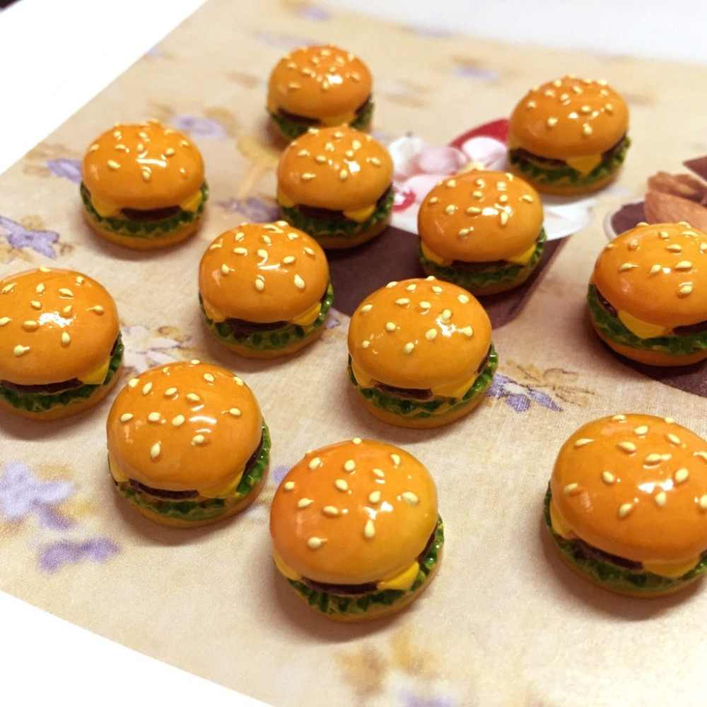 1:12 scale 3 Pcs Hamburger Resin Kawaii DIY Craft Decoration Miniature Fake Food Dollhouse Accessory Kitchen Living Room