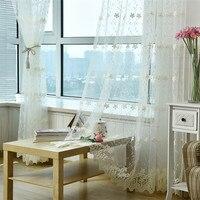 טורקיה גזה משי חלב אקארד רקום וילונות כפרי קוריאני גל צל חלון חדר השינה סלון יופי מותאם אישית E