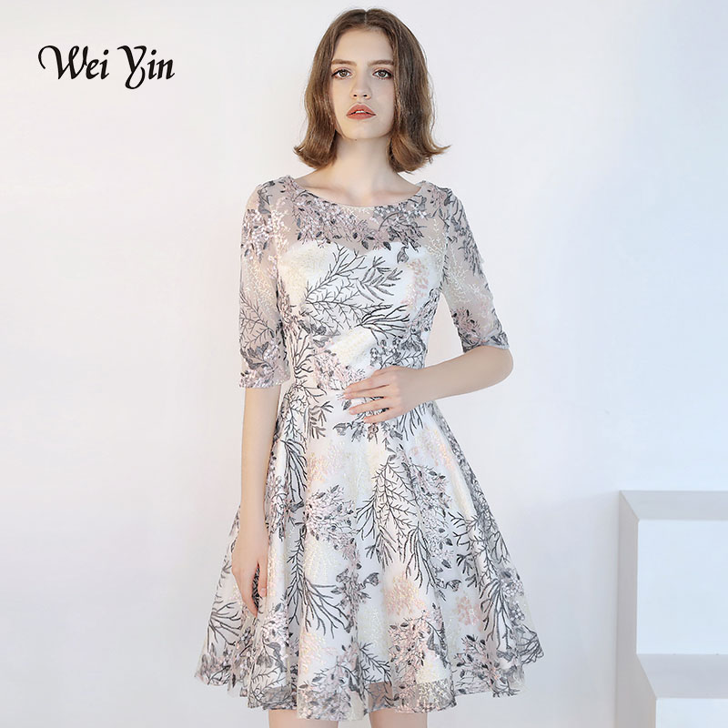 weiyin New Half Sleevelss Cocktail Dress Elegant Embroidery Above Knee Length Formal Dress Party Gown WY823