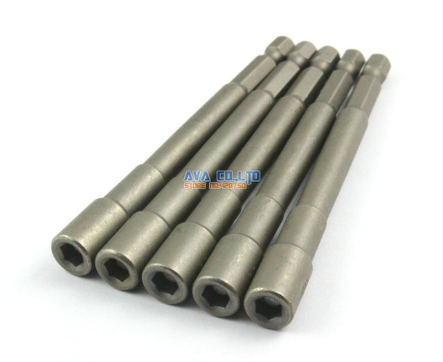"""5 Pieces Magnetic 5.5mm Hex Socket Nut Setters Driver S2 Steel 1/4"""" Hex Shank 100mm Long"""