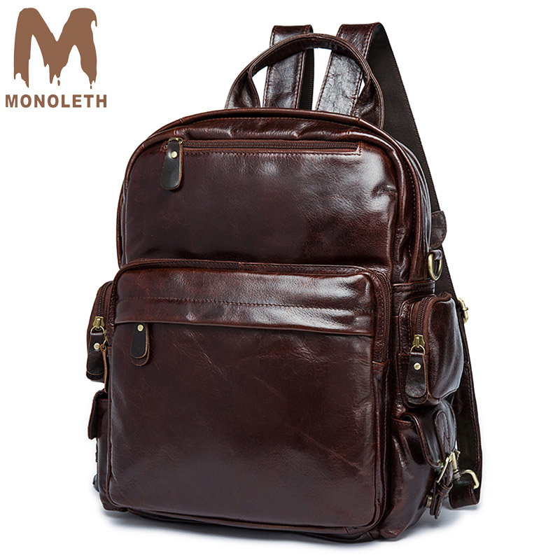 MONOLETH 2018 High Quality Vintage Genuine Leather Backpack Men Mental Bag Women Casual shoulder Backpacks Small Bag Travel 8820 2017 small vintage navy blue deinm backpack with cover high quality women daily backpacks for travel 2colors casual jeans bag