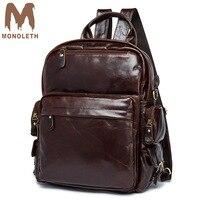 MONOLETH 2018 High Quality Vintage Genuine Leather Backpack Men Mental Bag Women Casual shoulder Backpacks Small Bag Travel 8820