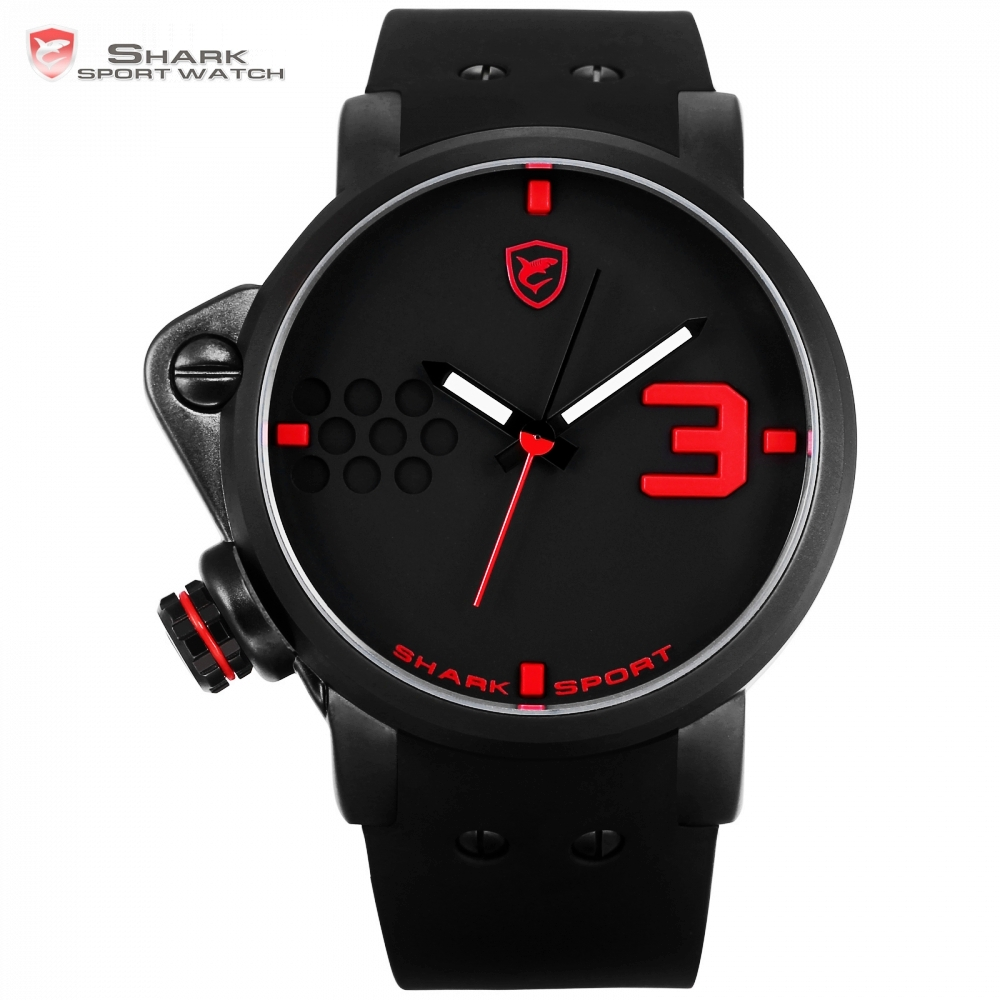 Salmon SHARK Sport Watch Black Red Creative Design Left Crown Men Quartz Analog 3D Face Clock Silicone Band Wrist Watches /SH517 men s military style fabric band analog quartz wrist watch black 1 x 377