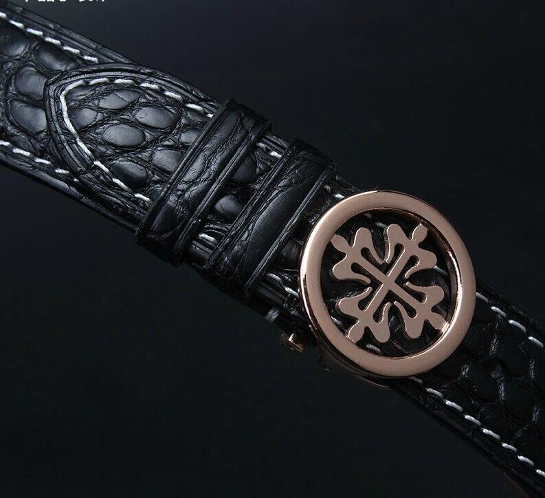 Nouveau bracelet de montre en cuir véritable crocodild fil blanc or Rose fermoir de montre en acier inoxydable 18mm 19mm 20mm 21mm 22mm - 2