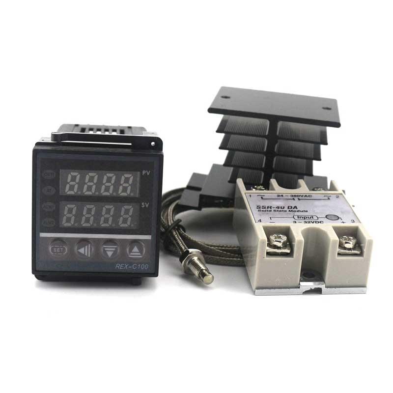 Dual PID Temperature Controller Kit SSR Output REX-C100 Digital Thermostat 220V AC with SSR-40DA Heat Sink 2m Quality K Probe  rex c100 digital pid temperature control controller thermostat thermometer relay output