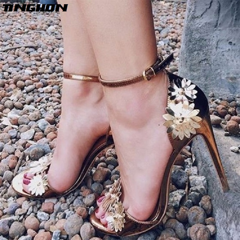 TINGHON Summer Sexy Women Sandals Pumps Buckle Strap Party Golden Flower Wedding shoes