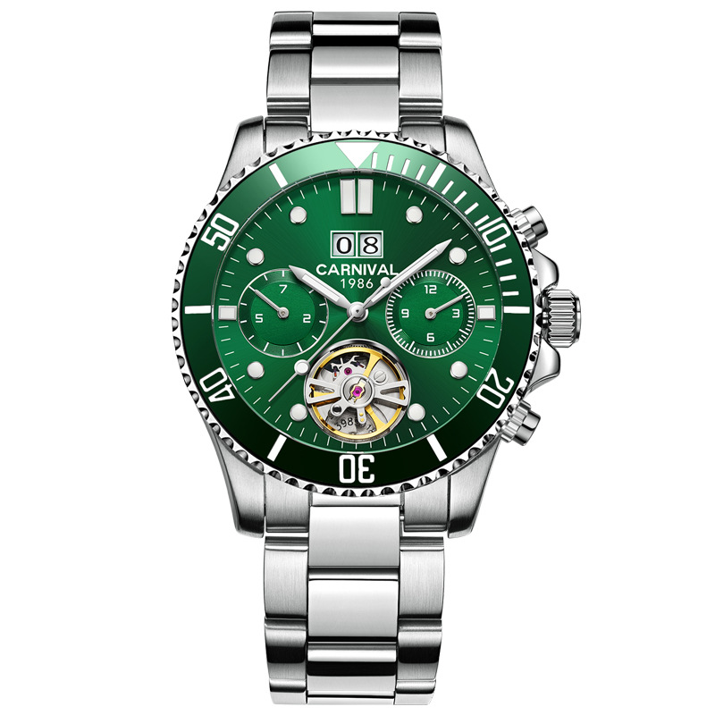 Carnival Green Water Ghost Series Luxury Full Steel Watch Men Automatic Mechanical Skeleton Mens Watches Business Gifts For ManCarnival Green Water Ghost Series Luxury Full Steel Watch Men Automatic Mechanical Skeleton Mens Watches Business Gifts For Man