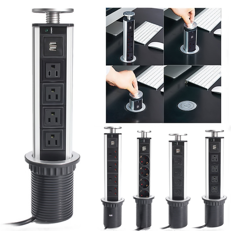 2500W US/UK/EU/AU Plug Pull Pop Up Electrical Socket 4 Power 2 charge USB Aluminum Shelf LED Desk Worktop Extension Table Home