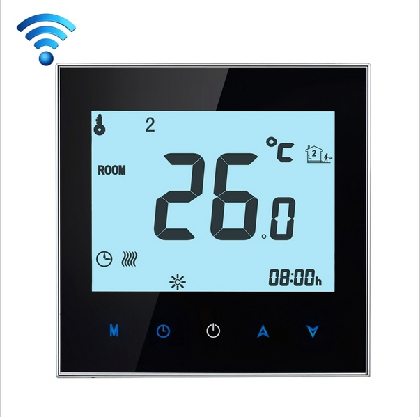 Touchscreen Programmable Wifi Thermostat for 2 Pipe Fan Coil Units Controlled by  Android and IOS Smart Phone in Home or Abroad lcd display backlight air conditioning 2 pipe programmable room thermostat for fan coil unit bac1000 wifi remote controlled