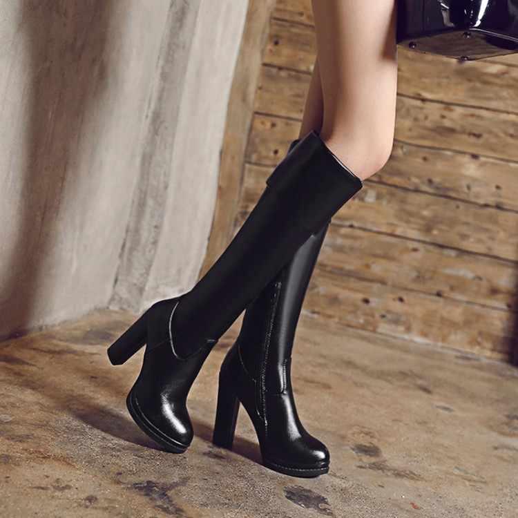 Büyük Boy 34-43 Kadınlar için Diz Çizmeler üzerinde Seksi Yüksek Topuklu Uzun çizmeler Kış Ayakkabı Yuvarlak Ayak platform Şövalye Çizmeler M108-1