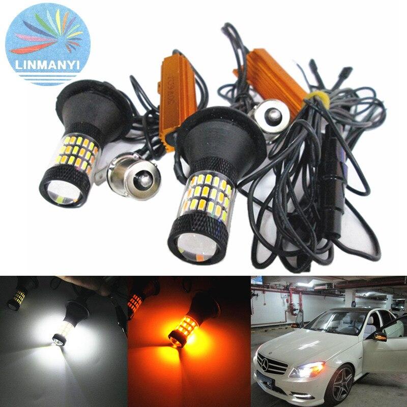 ФОТО 2PCS T20 W21W 7440 BA15S BAU15S 1156 30W 60SMD 1800lm Canbus No Error Free Super bright LED Daytime Running Light Turn lights