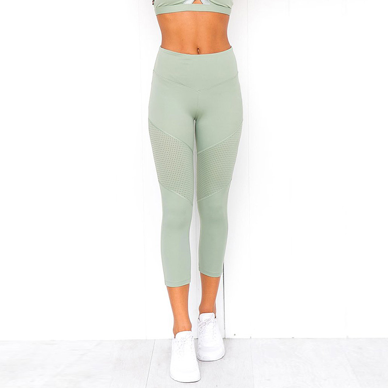 2019 New Fashion Mint Hue Cropped Leggings Women High Waist Leggings for Fitness Workout Active Pants Slim Green Trousers Casual in Leggings from Women 39 s Clothing