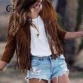 Lace Girl Осень 2017 Мода Кисточкой Кожа Кардиган Куртки Женщины Тонкий Тонкий Длинный Рукав Пиджаки Плюс Размер Jaqueta Feminina