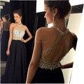 9211 w una línea sexy negro prom dress 2017 largo halter con cuentas sin respaldo vestidos de fiesta vestido de noche formal del partido del desfile vestidos