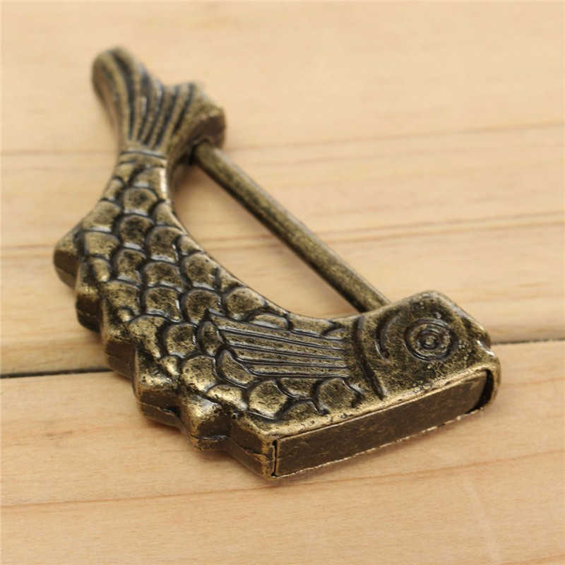 MTSPACE Vintage chinois cadenas Antique ancien Style rétro en laiton boîte à bijoux poisson motif serrure clé pour décor à la maison ornements cadeau