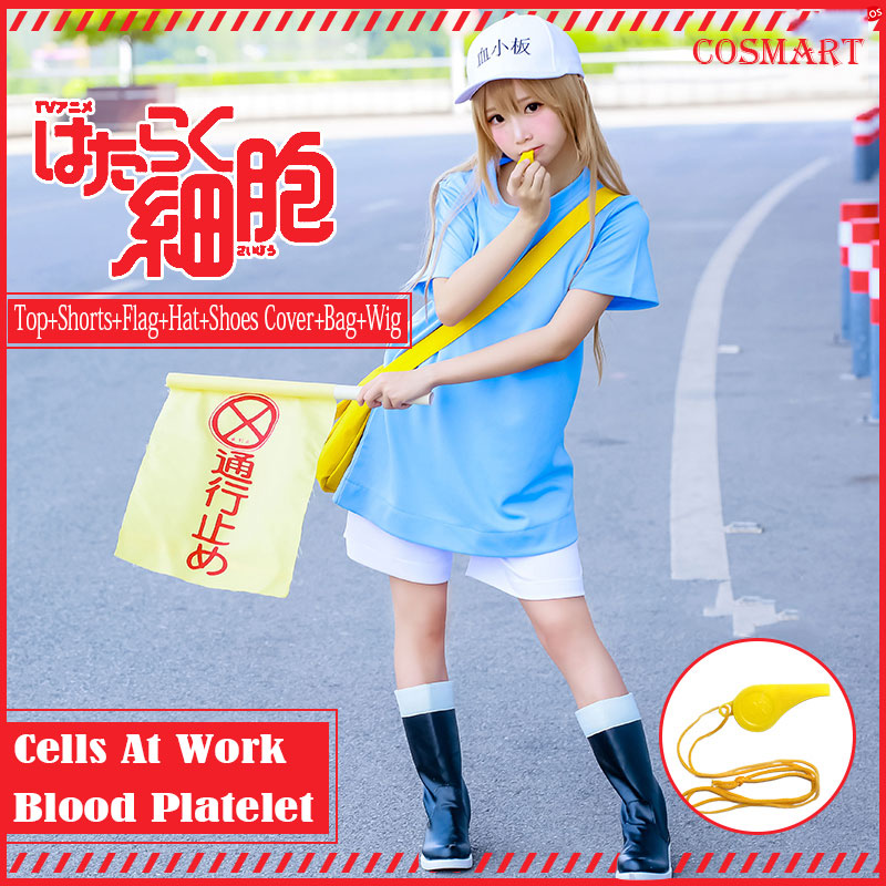 [STOCK]Amine Cells At Work Blood Platelet Cosplay Costume For Halloween Carnival full set Costume+Wig+Shoes Cover+Hat+Flag 2018