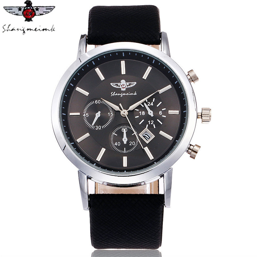 SHANGMEIMK Brand Men Watch Luxury Fashion Calendar Business Watch Casual Leather Strap Quartz Wristwatches Relogio Masculino Hot 1