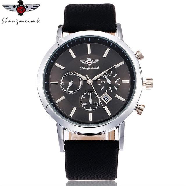 SHANGMEIMK Brand Men Watch Luxury Fashion Calendar Business Watch Casual Leather Strap Quartz Wristwatches Relogio Masculino Hot 1