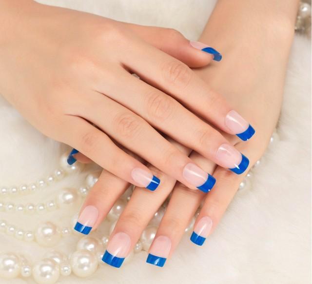 24pcs Pack Artificial Fingernail Full Cover French False Acrylic Nails Faux Tip Salon Make Up