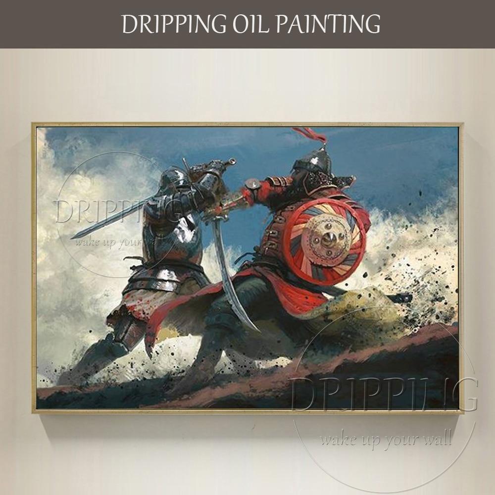 Peintre qualifié peint à la main de haute qualité guerre médiévale féroce duel peinture à l'huile guerriers combat peinture à l'huile pour salon