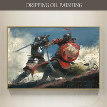 Skilled Painter Hand-painted High Quality Medieval War Fierce duel Oil Painting Warriors Fighting for Living Room