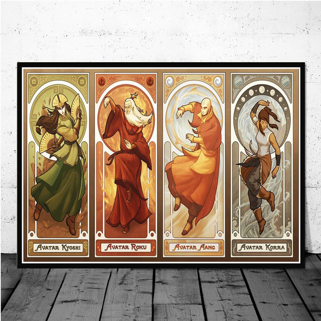US $2.99 30% OFF|Oil Painting Art Poster Prints Avatar The Last Airbender  Japan Anime World Map Canvas Wall Pictures For Living Room Home Decor-in ...