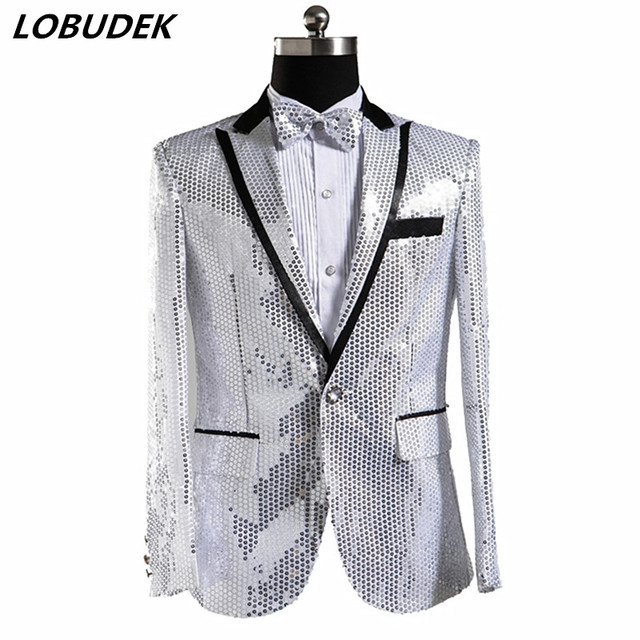 5aede4fb2 Men Fashion Silvery Black Gold Red Blue Sequins Blazers Coat Slim Jackets  Singer Chorus Host Stage