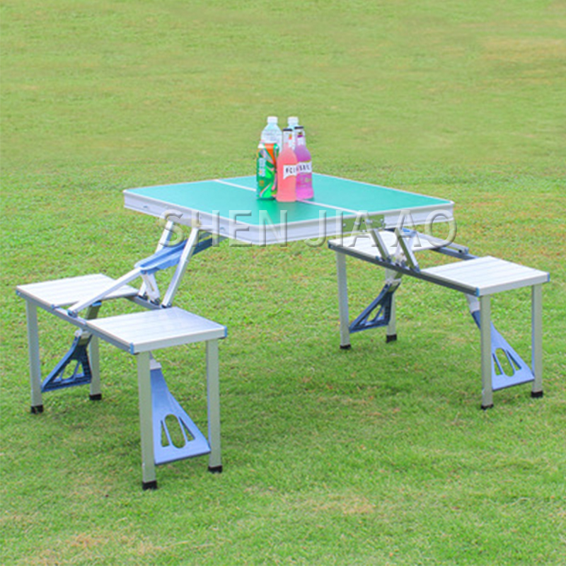 Outdoor Folding Table Aluminum Alloy Piece Table Portable Table And Chair Camping  Picnic Portable Combination Table And Chair|Outdoor Tables| |  - title=