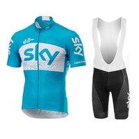 Moxilyn Mtb Cycling Clothing Team Sky Bike Jersey Short Sleeve Bib Shorts Ciclismo Maillot Summer