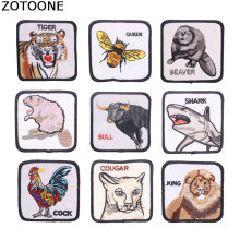 ZOTOONE 1Pcs Animal Iron on Patches for Clothing Diy Bee Tiger Cat Custom Embroidery Stripes Clothes Patch Sticker Applique G