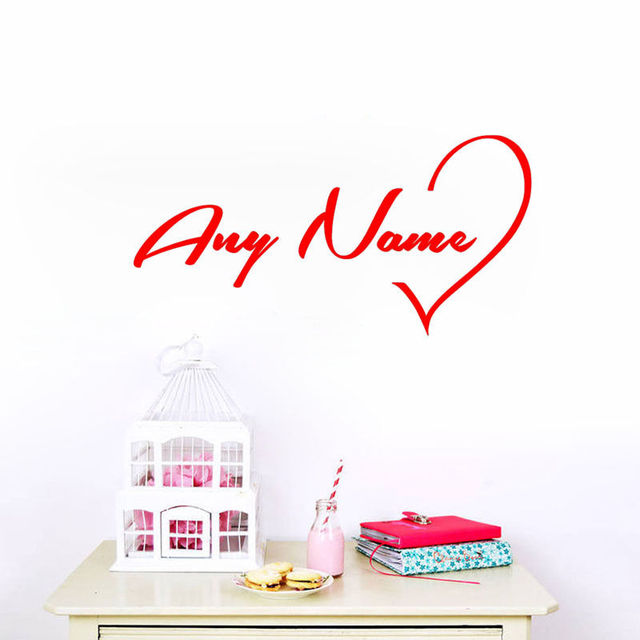 Personalised Your Own Name Love Heart Wall Stickers Customized - How to create your own vinyl stickers at home