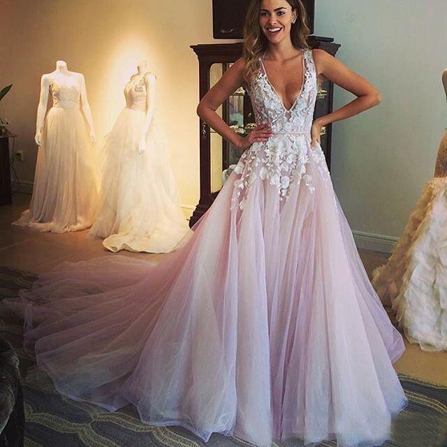 Designer Blush Brautkleider Arabischen Dubai Tull Hochzeitskleid