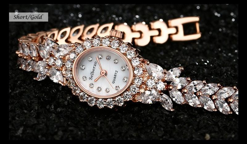 16 50M Waterproof Selberan Gold/Silver Natural Zircon Wrist Watch for Women Luxury Ladies Bracelet Watch Montre Femme Strass 20