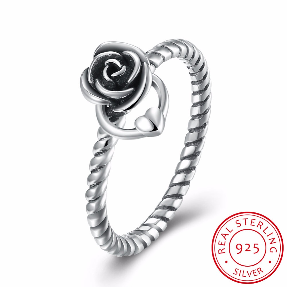 Luxury Antique 925 Sterling Silver Rose Heart Rings Micro CZ Brand Rings for Women Wedding Jewelry PAR176