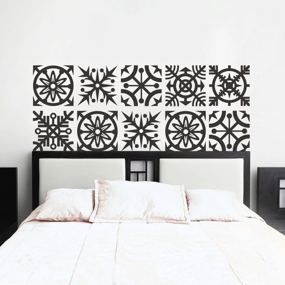 charming bedroom wall art stickers | Headboard Wall Decal Geometric Dorm Decor Shabby Chic Star ...