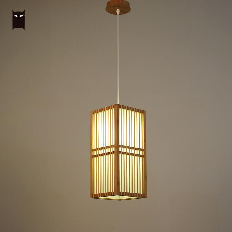 Us 218 0 Bamboo Wicker Rattan Square Shade Pendant Light Fixture Anese Style Single Hanging Ceiling Lamp For Tatami Dining Table Room In