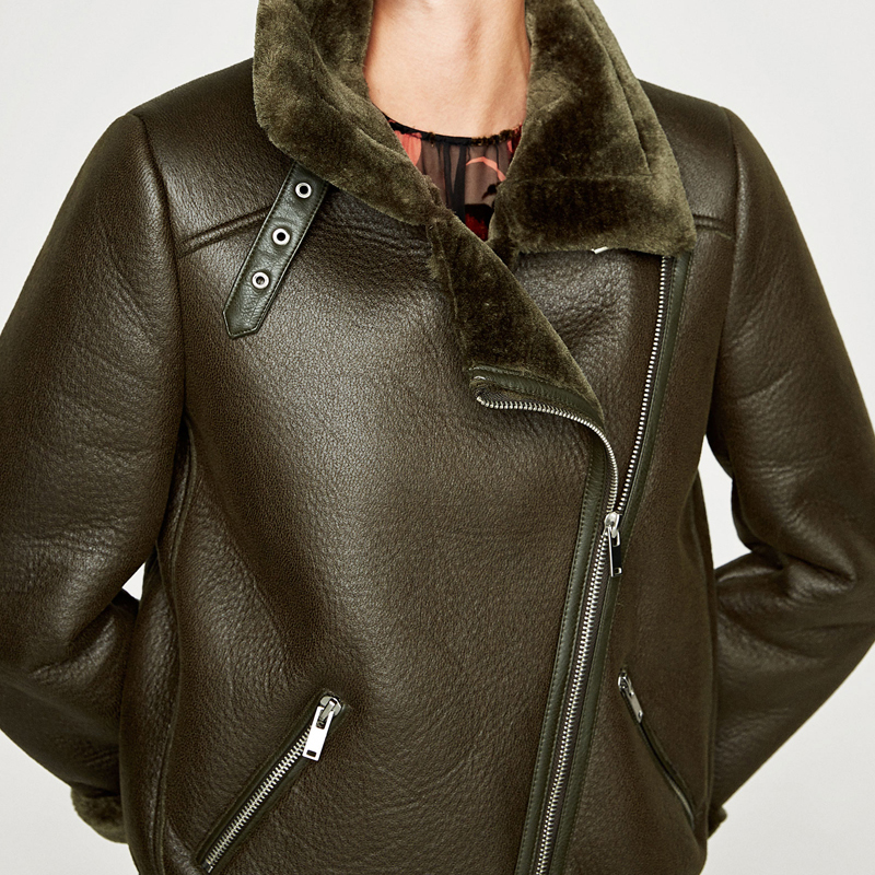Military Womens Fur Leather Jacket Overcoats Biker Fur Coats Plus Size European Style Automotive Sheepskin Fur Coats Woman 3A045