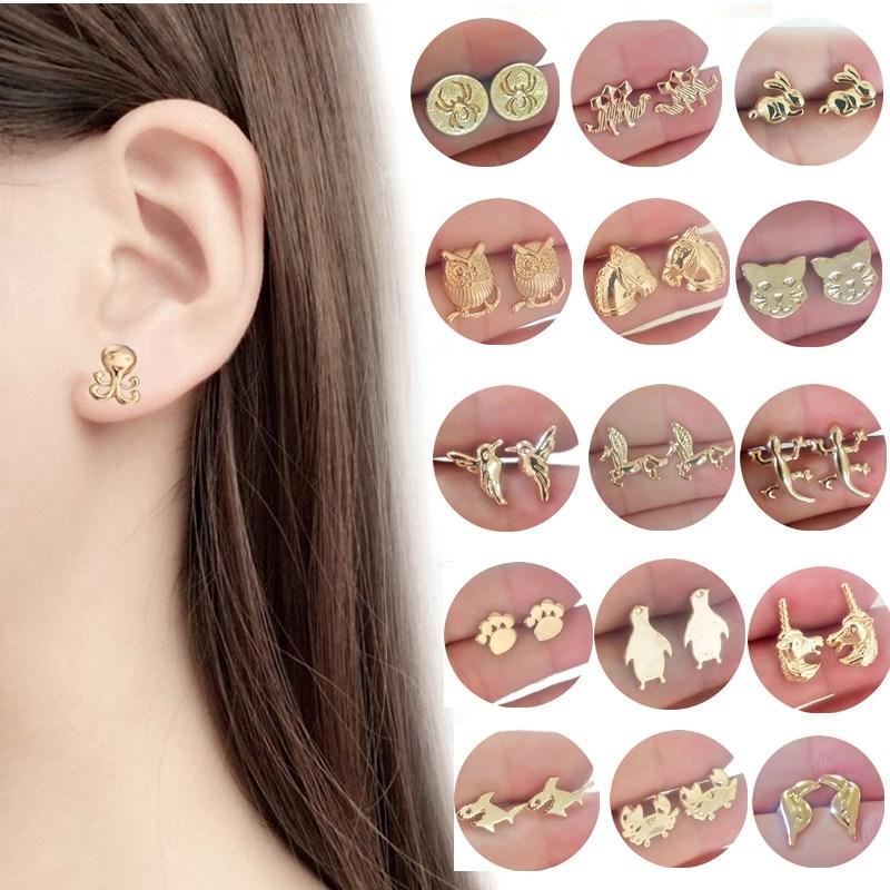 2018 Statement Animal Earrings For Women Gold Silver Cat Bird Trendy Jewelry Cheap Children Stud Earrings Female Birthday Gift earrings
