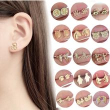 2018 Statement Animal Earrings For Women Gold Silver Cat Bird Trendy Jewelry Cheap Children Stud Earrings Female Birthday Gift(Hong Kong,China)