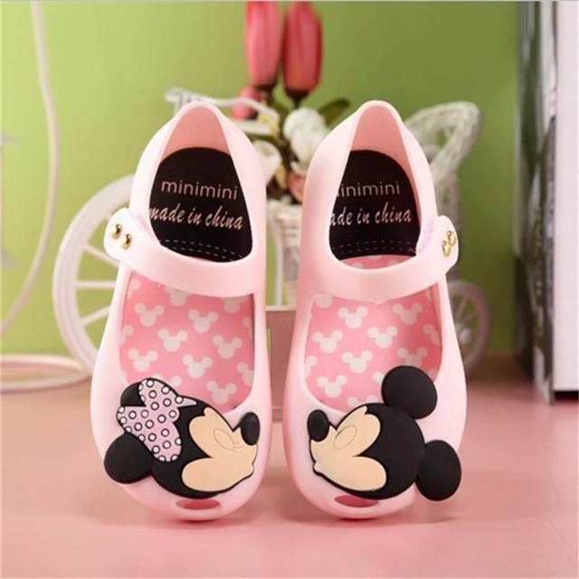 13.5-16 cm 2016 nuevo Mini mini zapatos de bebé mickey Mini girls jelly fish soft suelas para sandalias de los niños playa de verano
